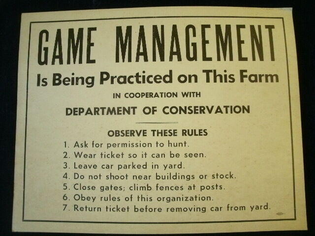 Vintage GAME MANAGEMENT Sign DNR Michigan Dept Of Conservation 14