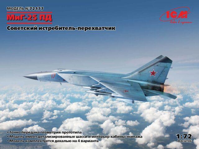 ICM MIG-25PD Soviet Fighter Interceptor Model Kit 1/72 Scale