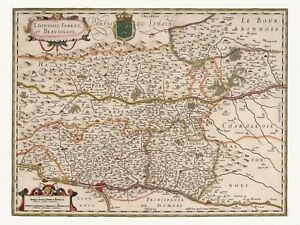 Old Antique Decorative Map of Auvergne France de Wit ca. 1682