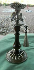 VTG-AMERICAN-EAGLE-DILLY-10-034-TALL-WOOD-METAL-CANDLE-HOLDER-amp-SNUFFER-MADE-USA