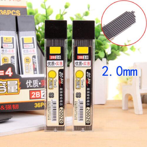 2x 20pcs//box Mechanical Pencil Refill 2.0mm Graphite Lead Pen Stationery New