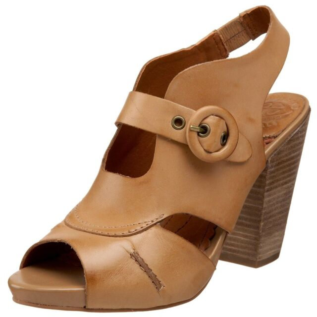 Lucky Brand Paris's Brown Leather CUTE Block Heels Clog Sandal $99 Women's 9 EUC