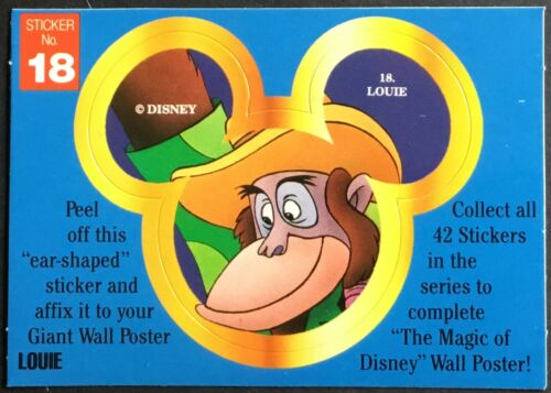 Mint Condition!! Vintage Stickers King Louie #18 Disney