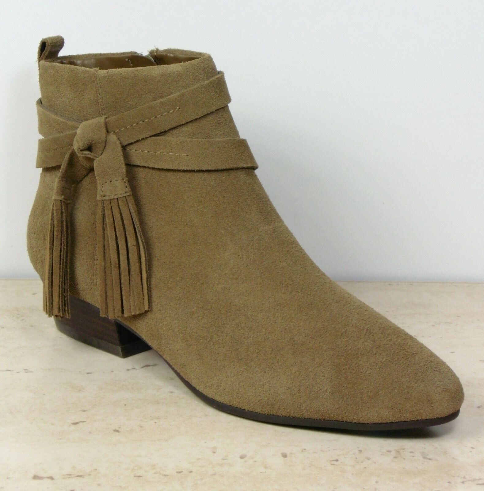 M&S Real SUEDE Low Heel TASSEL ANKLE BOOTS  Size 5  OLIVE BEIGE (rrp )