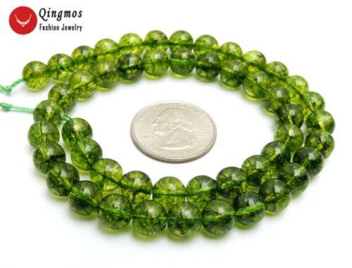"""Verde 8mm Redondo Natural Peridoto granos para joyería haciendo hágalo usted mismo Collar 15/"""" los792"""