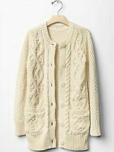 GAP Kids Girls Cable Knit Cardigan Sweater Jacket French Vanilla XS ... 10bd6758c