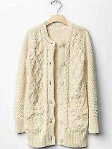 38deb1f5e GAP Kids Girls Cable Knit Cardigan Sweater Jacket French Vanilla XS ...