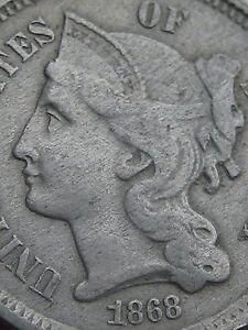 1868-Three-3-Cent-Nickel-Fine-VF-Details