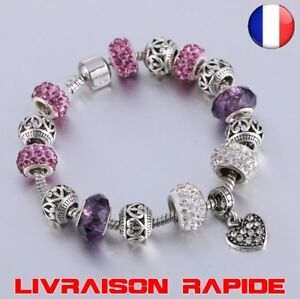 Bracelet-Femme-Vintage-Cristal-Coeur-Perles-Bijoux-Mode-Argent-Charme-Cadeau