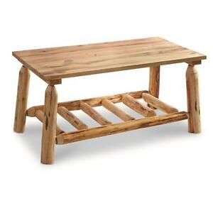 Details about Rustic Natural Pine Log Coffee Table Premium Lacquer Finish  Solid Wood Furniture