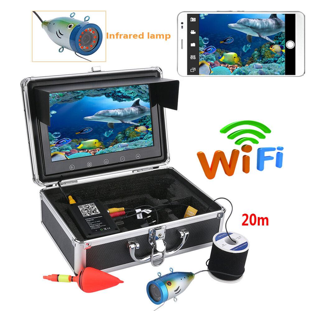 HD 9 LCD 20M 1000tvl Kit de cámara de vídeo de pesca submarina función inalámbrica Wifi