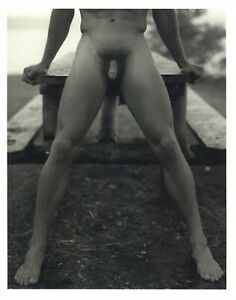 1990 Bruce Weber Nude Male Model Torso Lean On A Picnic Table Art Photo Gravure