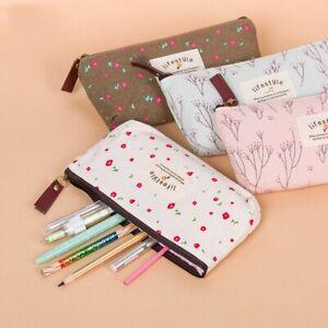 Cute-Kawaii-Floral-Flower-Canvas-Zipper-School-Supplies-Pen-Bags-Pencil-Cases