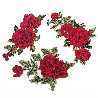 3D Red Rose Flower Sew Iron On Badge Embroidery Applique Trim Patch Dress Sewing