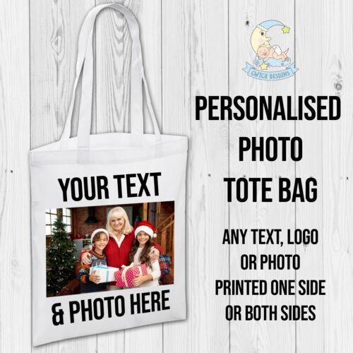 Personalised Christmas Gift Tote Bags Text Photo Printed Custom Tote Bag