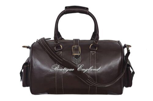 """Mesdames /""""duffle/"""" brown medium weekend holdall voyage gym véritable cuir véritable sac"""