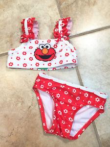 b353cc6d48 Sesame Street ELMO C60 Infant Girl's Red & White Bathing Suit 3/6 ...