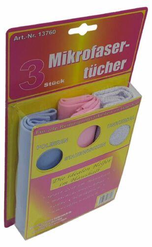 K022 Microfibre-Chiffons 3 pièces dans une diapositive 3 Couleurs 30x30cm