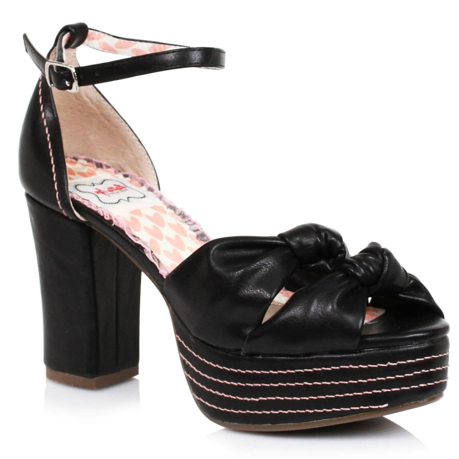 confortevole Bettie Page scarpe Jessy Platform Heel Heel Heel Retro nero Dimensione 7  prezzo basso