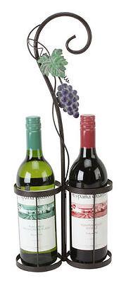 Metal  Twin  Wine Bottle Holder Grape Vine Design Gift - Holds 2 Bottles