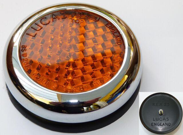 Lucas RER25 Amber Reflector, Lucas 57161. Fits; Triumph, Norton, BSA etc