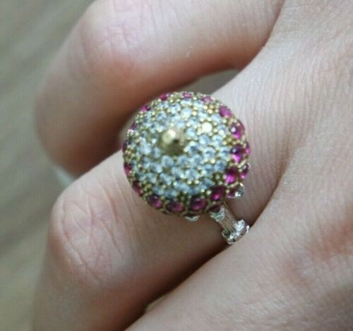 925 Sterling Silver Handmade Authetic Turkish Ruby Ladies Ring Size 6-9