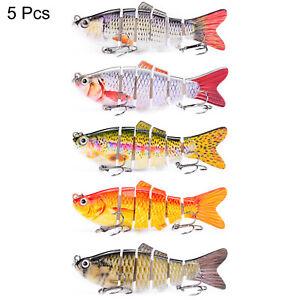 5 Pcs 6-Segments Fishing Lures Fish Minnow Swimbait Tackle Hook Lure Crank Bait