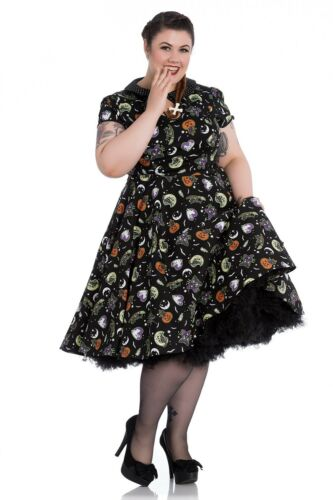 Hell Bunny Plus Size Gothic Halloween Black Cat Salem 50/'s Dress 2X 3X 4X