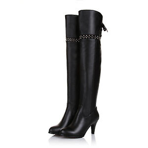 Ladies-Black-Shoes-Genuine-Leather-High-Heel-Zip-Up-Over-Knee-Boots-US-Size-b195
