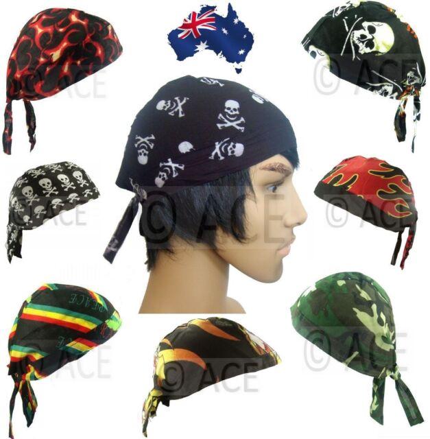 100% Cotton Biker Durag Biker Helmet Liner Hats Bandana Motorcycle Skull Cap Hat