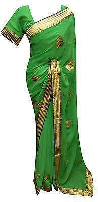 Soie Doré Indien Saree bollywood fête réception Ethnic Women/'s Wear Gold Sari