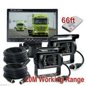Van Skid Steer EXCAVTOR Truck Heavy Equipment 7 Wired Rear View Backup Reverse Side View Camera System Night Vision for Tractor Forklift Pickup