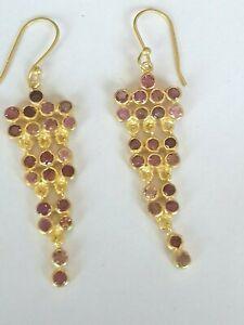 Pink-Turmalin-Ohrringe-925-Silber-vergoldet