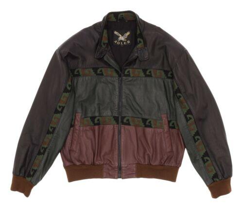 ADLER Leather Jacket L Large Mens Vtg Chimayo Azte