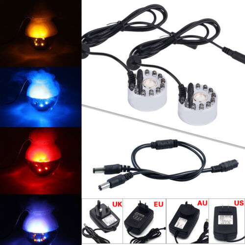 12 LED Ultrasonic Mist Maker Light Fogger Water Fountain Pond 24V Power Adapter