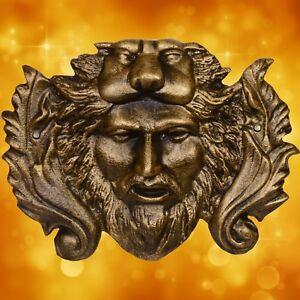 Garten Wasserspender Löwenkopf Mann Wandplatte Eisen Guss Wand Brunnen Geschenk