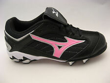 Womens Girls Mizuno Softball Cleats 5.5 Black Pink 9-Spike Finch Franchise G3