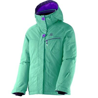 Salomon 10K Girl Ski Jacket Snowboard Jacket Kids Winter Jacket Turquoise Green | eBay