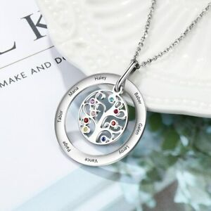 Life Tree Pendant Women Necklaces Engraved 8 Names Birthstones Mothers Day Gift