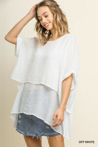 Umgee-White-Layered-Short-Sleeve-Tunic-Top-Regular-S-M-L-Plus-Size-XL-1XL-2XL