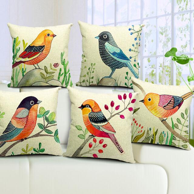 New Animals Birds Cotton Linen Pillow Case Throw Sofa Waist Cushion Cover Decor