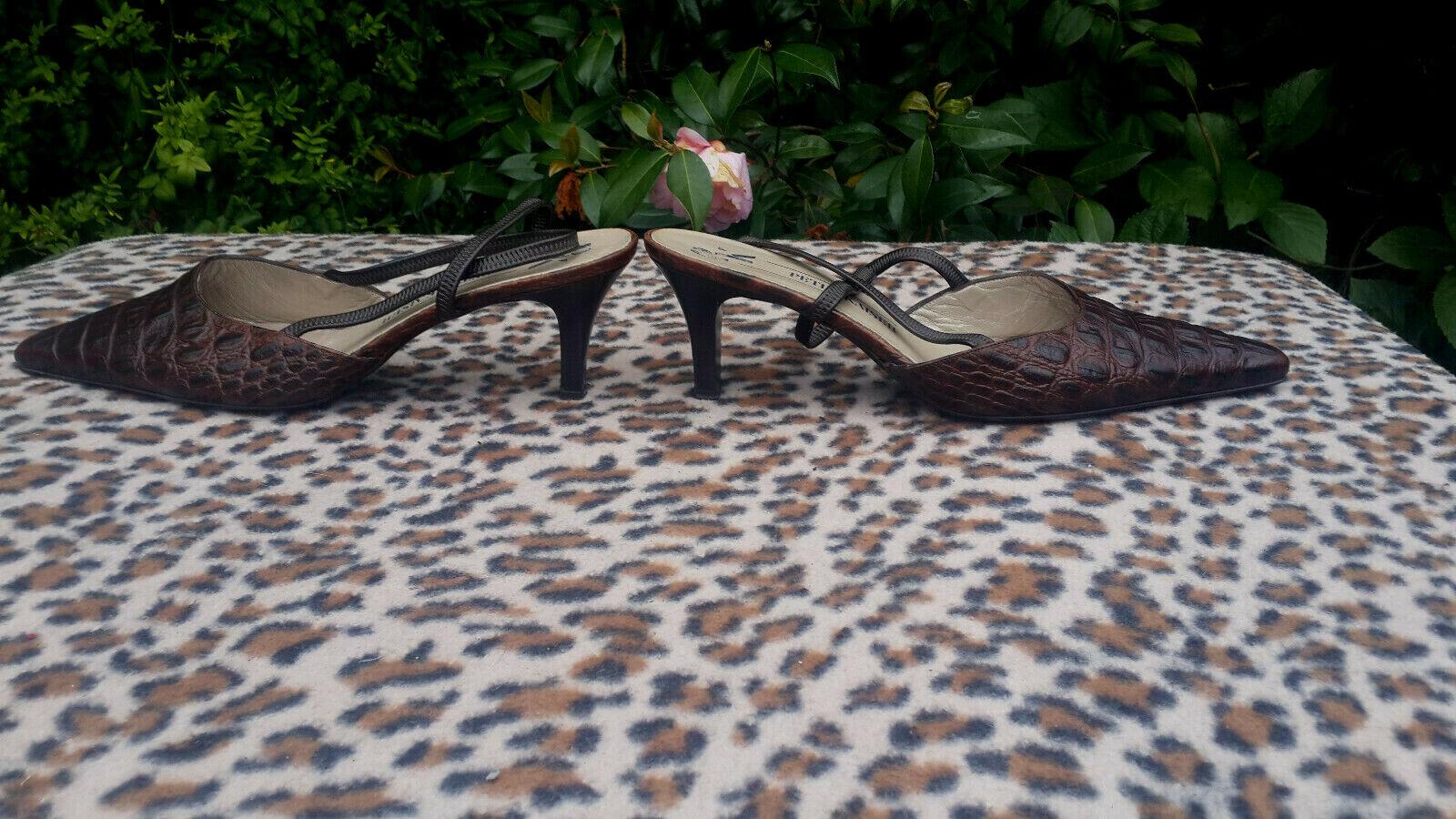 Peter Kaiser marron Crocodile Motif chaussures Cuir Taille UK 7.5 EU 41