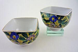 Pair-Japanese-Porcelain-Tea-Bowls-Hand-Painted-Floral-Yamazaki-Kutani-Yaki