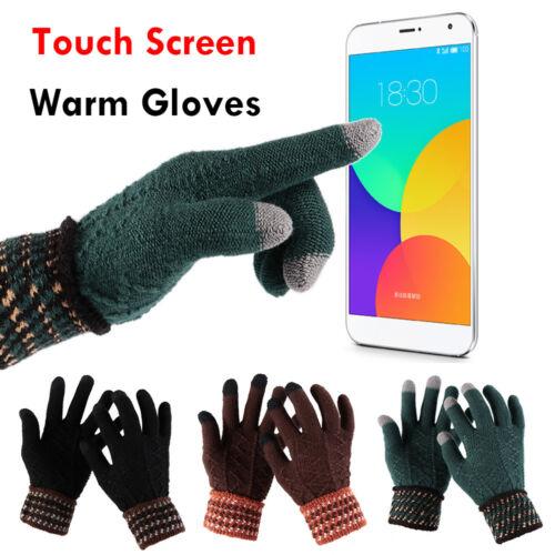 Women Men Touch Screen Gloves Stretch Wool Knitted Warm Mittens Non-slip Gloves`