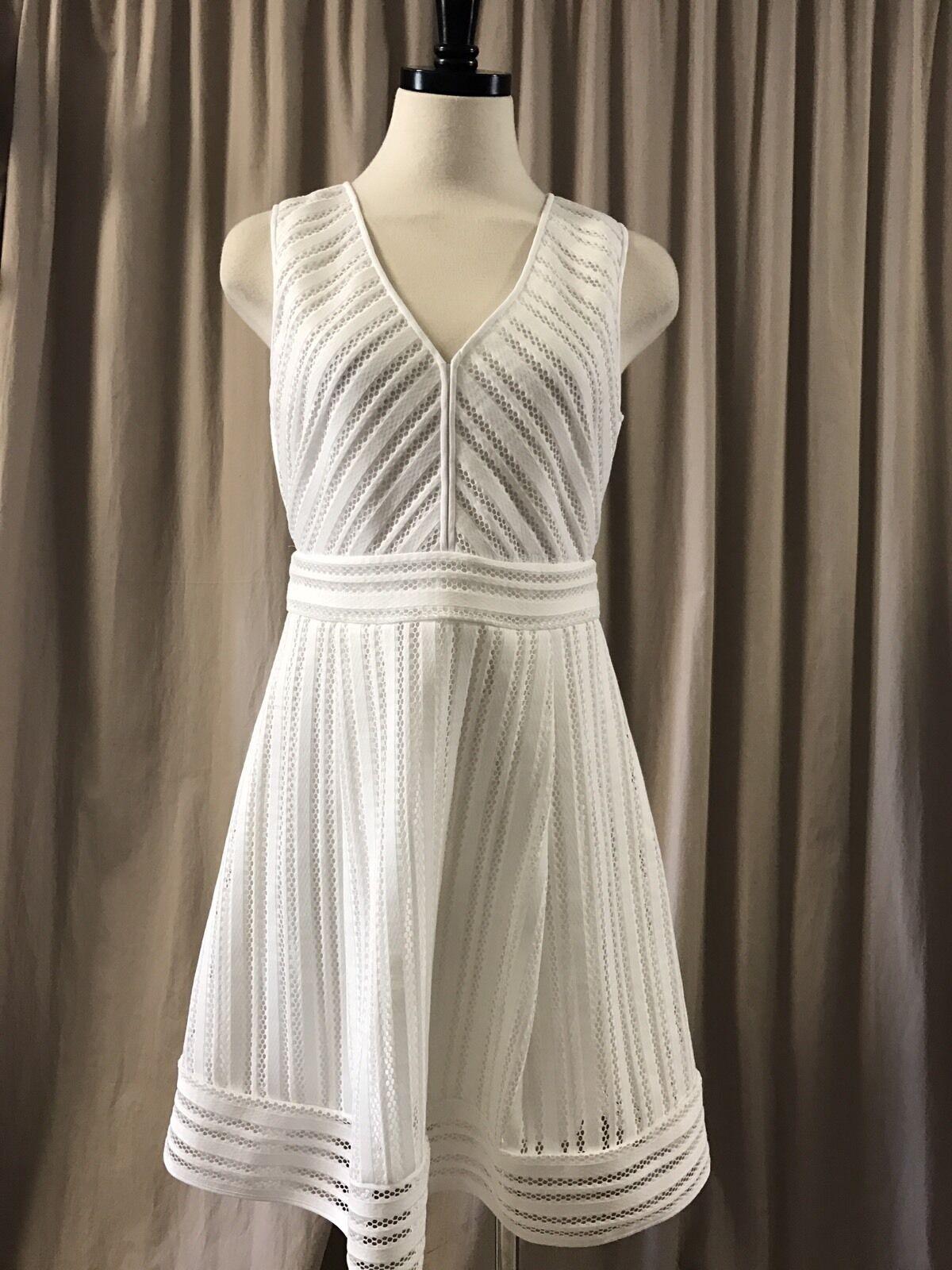J.CREW PETITE STRIPES EYELET DRESS Weiß SZ 6P C7315