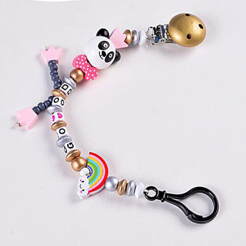 Baby Kids Girls Boys Dummy Panda Pacifier Soother Chain Strap Clip Holder SK