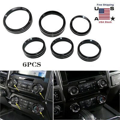 Black Air Conditioner Audio Switch Decor Ring Cover Trim For Ford F150 2016-2018