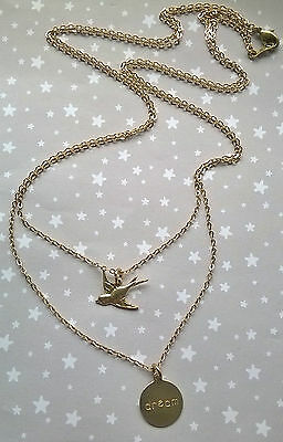 Vintage Style Swallow Bird Love Dream Hope Wish Word Layer Necklace - Brass Gold