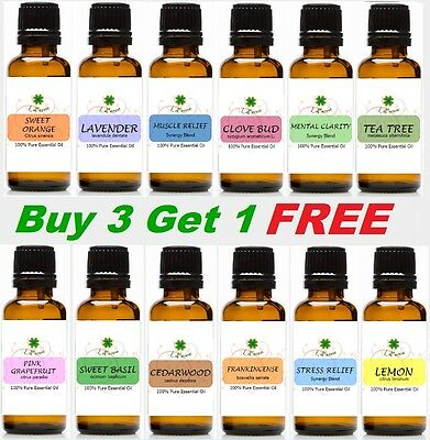 30ml Essential Oil 100% Pure Therapeutic Grade Aromatherapy Buy 3 get 1 FREE
