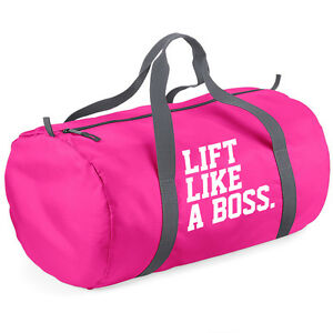 LIFT LIKE A BOSS -LADIES GYM BAG - SPORTS BAG - Packaway Barrel Bag ... 982037c865
